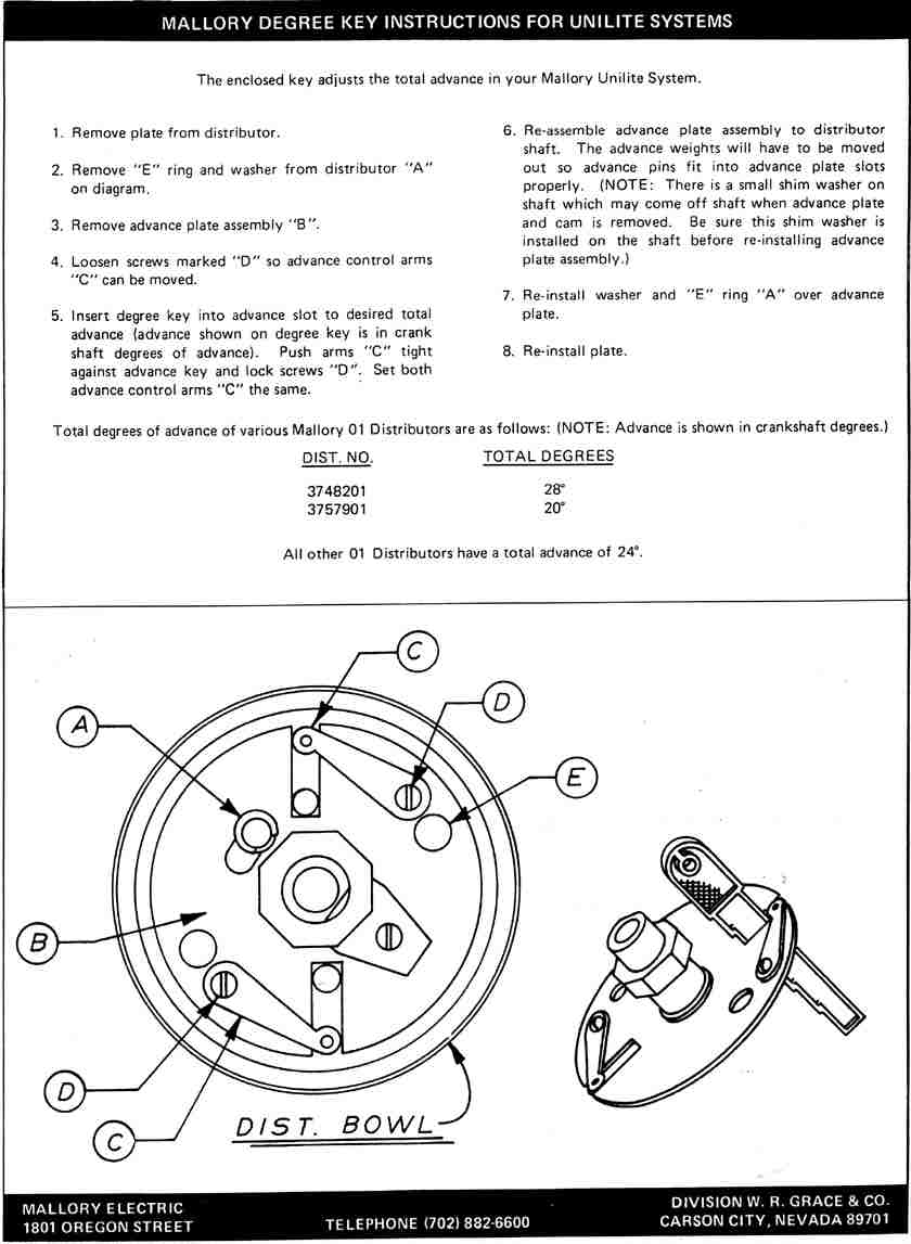 how to adjust mechanincal advance in mallory 5755101